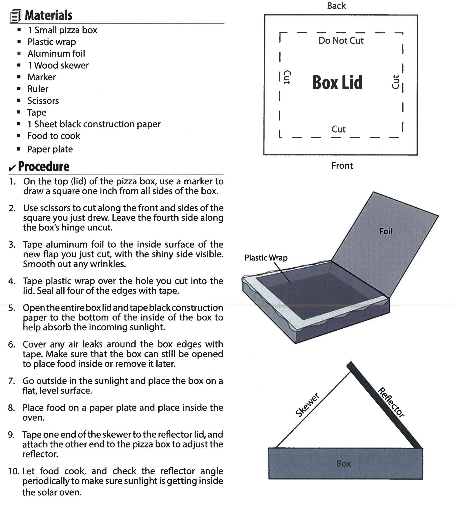 How To Make A Pizza Box Solar Oven Cape Light Compact
