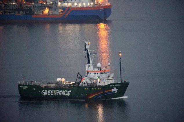 The Greenpeace ship Arctic Sunrise departs from Murmansk, Russia, August 1, 2014.
