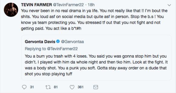 Tevin Farmer vs Gervonta Davis on Twitter