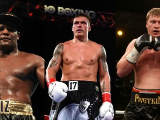 Oleksandr Usyk, Luis Ortz and Alexander Povetkin