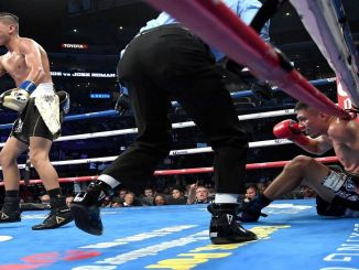 Mario Barrios knocks down Richard Zamora Photo: Jayne Kamin-Oncea