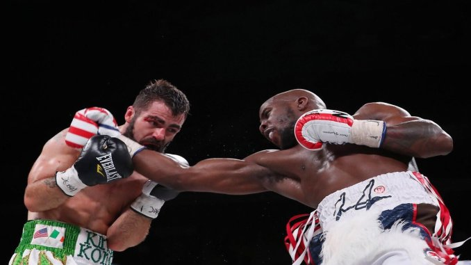 Tevin Farmer punches at Jono Carroll in their March 15, 2019 Match-up in Philadelphia
