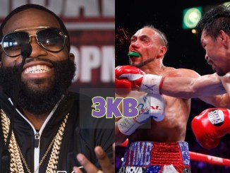 Adrien Broner and Manny Pacquiao lands a right hand on Keith Thurman.