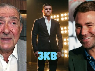 Bob Arum, Canelo Alvarez and Eddie Hearn