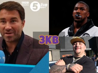 Eddie Hearn, Anthony Joshua and Andy Ruiz
