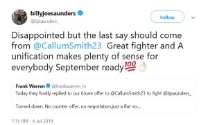 Tweet by Billy Joe Saunders
