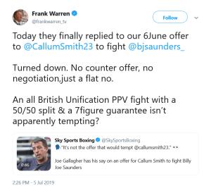 Tweet by Frank Warren