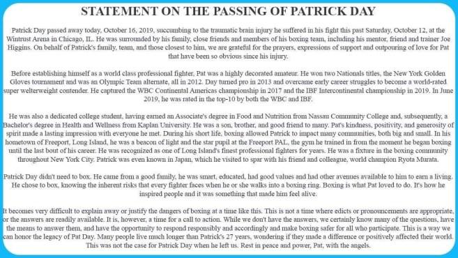 Patrick Day Statement