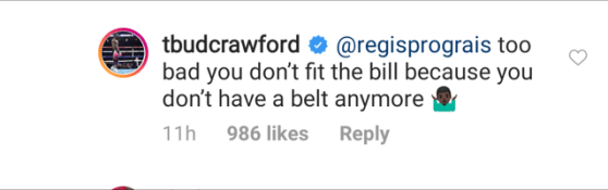 Terence Crawford responds to Regis Prograis