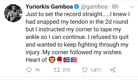 Yuriorkis Gamboa Speaks On Injury