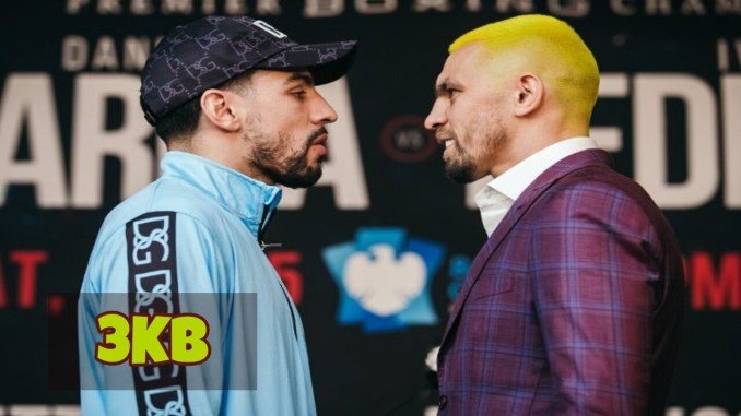 Danny Garcia and Ivan Redkach (right) face off