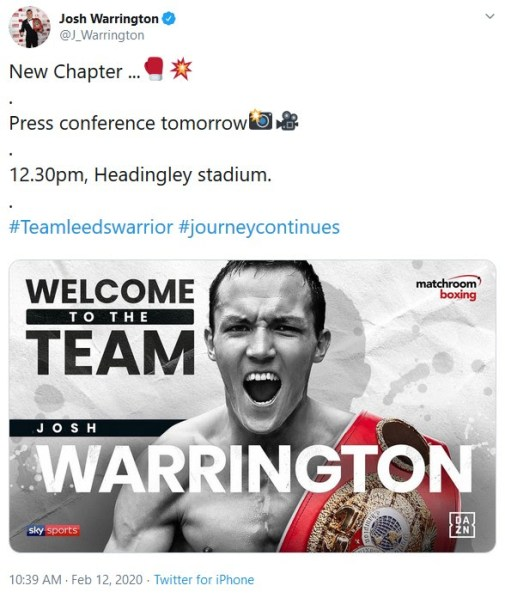 Warrington's announcement Tweet
