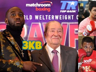 Terence Crawford with Bob Arum (left), Manny Pacquiao (top left), Kell Brook