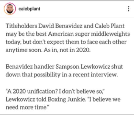 Caleb Plant Shows Evidence Of David Benavidez Avoiding The Unification