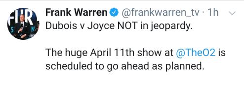 Frank Warren alleviates concerns over Dubois v Joyce