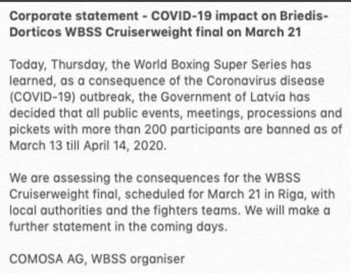 WBSS Statement on Briedis-Dorticos