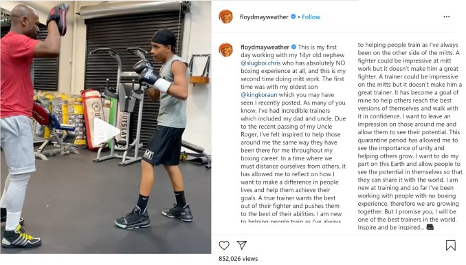 Floyd Mayweather training his 14 year old nephew