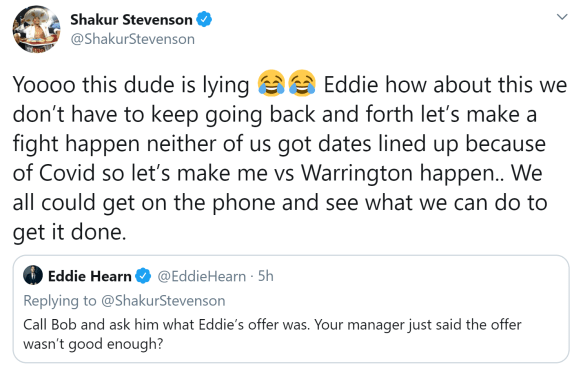 Shakur Stevenson suggests a conference call