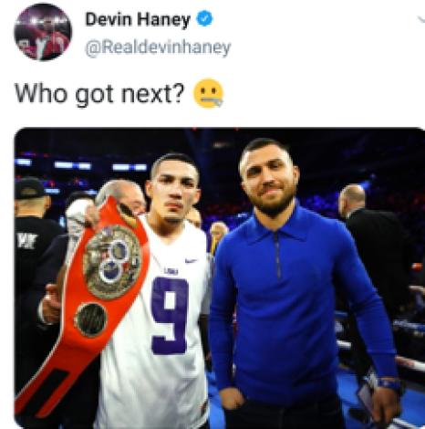 Devin Haney challenges Teofimo Lopez and Vasyl Lomachenko