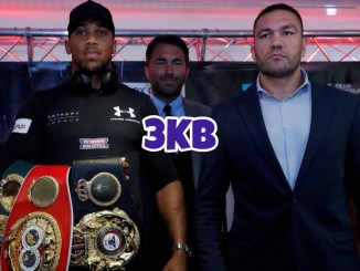 Anthony Joshua (left), Eddie Hearn (background), and Kubrat Pulev