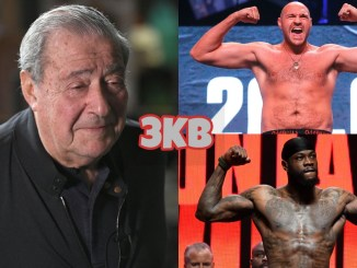 Bob Arum (left), Tyson Fury (top), Deontay Wilder