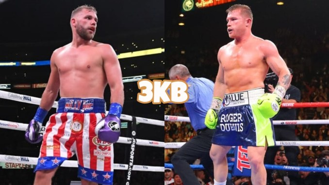 "Billy Joe Saunders (left), Saul ""Canelo"" Alavarez"