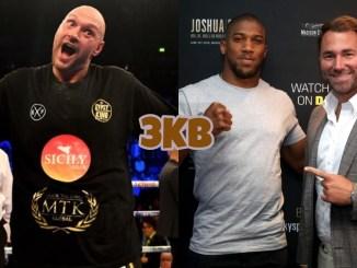 Tyson Fury (left), Anthony Joshua with Eddie Hearn