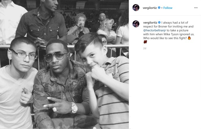 Vergil Ortiz shares picture over social media with Adrien Broner