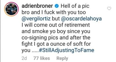 Adrien Broner responds to Vergil Ortiz Jr