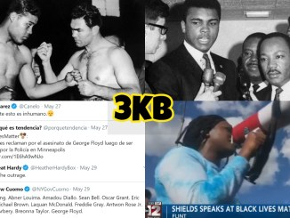 """(clockwise from top left) Joe Louis vs Max Schmelling, Muhammad Ali and Martin Luther King Jr, Saul """"Canelo Alvarez"""" and Heather Hardy via social media, Claressa Shields speaks at Black Lives Matter rally"""