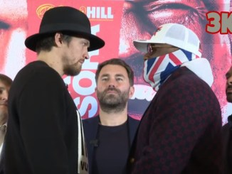 Oleksandr Usyk and Dereck Chisora face off