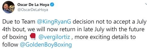 Oscar De La Hoya announces Vergil Ortiz bout as consequence of Ryan Garcia pulling out