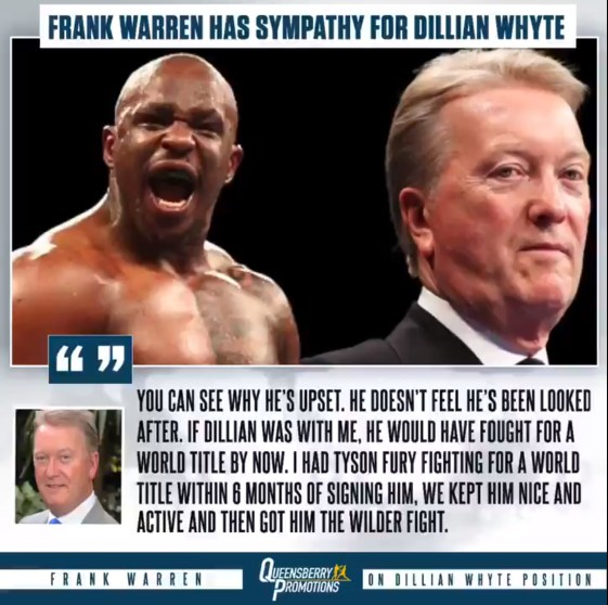 Frank Warren agrees that Dillian Whyte should be upset