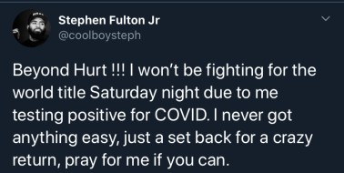 Stephen Fulton announces testing positive for COVID-19