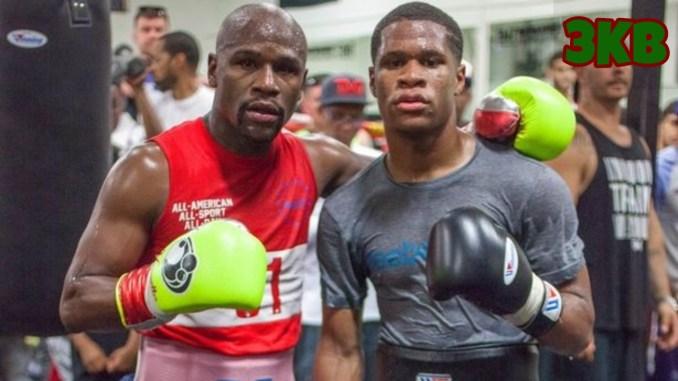 Floyd Mayweather (left) with Devin Haney in training gear