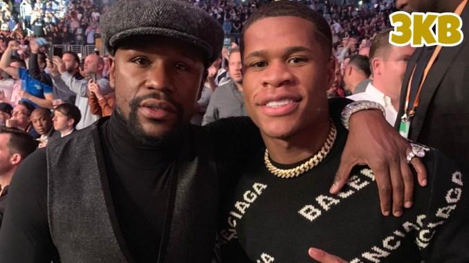 Floyd Mayweather Jr. (left) with Devin Haney