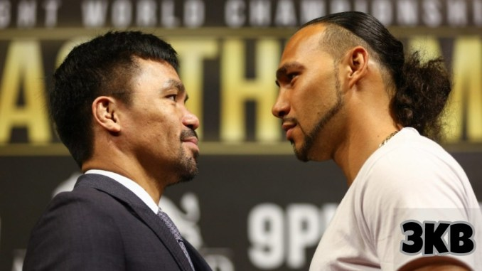 Manny Pacquiao (left) and Keith Thurman face off