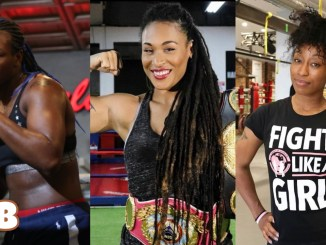 (left to right) Claressa Shields, Hanna Gabriels, Raquel Miller