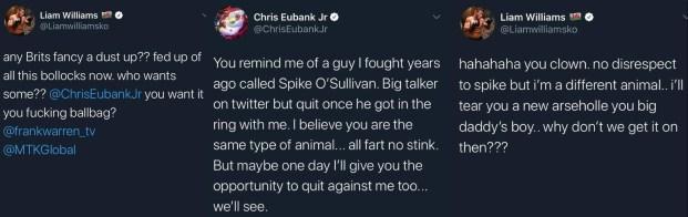 Liam Williams and Chris Eubank Jr trade words over social media