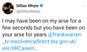Dillian Whyte brings up old financial troubles for Frank Warren