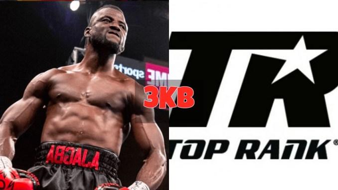 Efe Ajagba and Top Rank Boxing logo