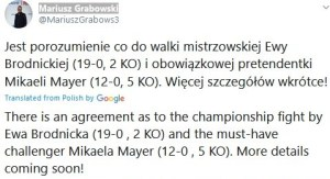 Mariusz Grabowski announces Brodnicka v Mayer