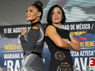 Mariana Juarez (left) poses with Jackie Nava at the presser for their tentative fight