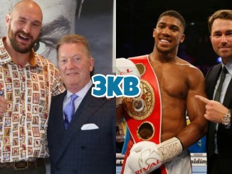 Tyson Fury with Frank Warren (left), Anthony Joshua with Eddie Hearn