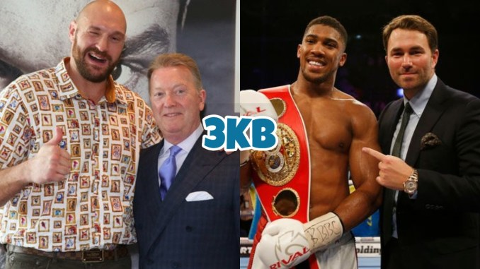 Tyson Fury with Frank Warren (left), Anthony Joshua with Eddie Hearn