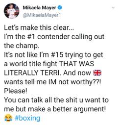 Mikaela Mayer makes clear she's calling out Terri Harper