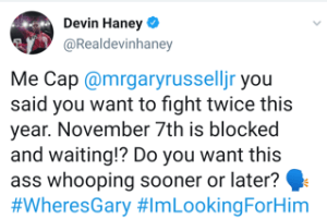 Devin Haney taunts Gary Russell Jr.