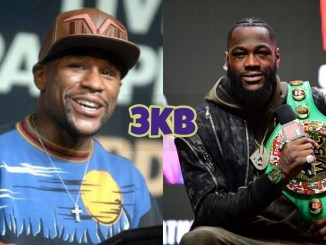 Floyd Mayweather Jr (left), Deontay Wilder
