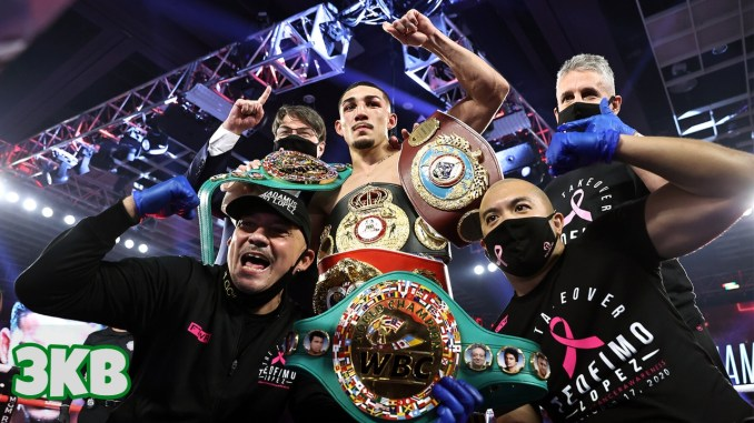 Teofimo Lopez and team celebrate defeating Vasiliy Lomachenko to become unified lightweight champion