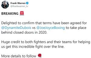 Frank Warren confirms Daniel Dubois v Joe Joyce agreement for 2020